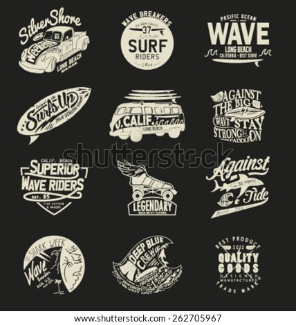 Vintage Surfing Graphics car - stock vector