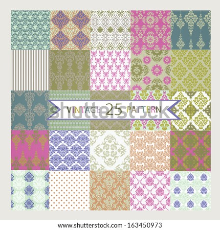 25 Vintage vector seamless patterns - stock vector