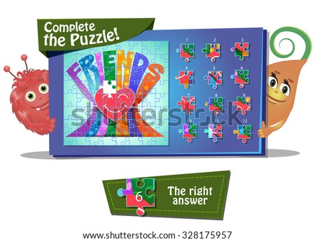 Visual Game for children. Task: complete the pazzle - stock vector