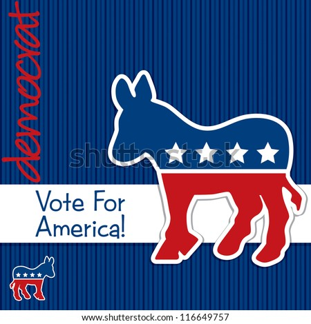 """Vote for America"" Democrat election card/poster in vector format. - stock vector"