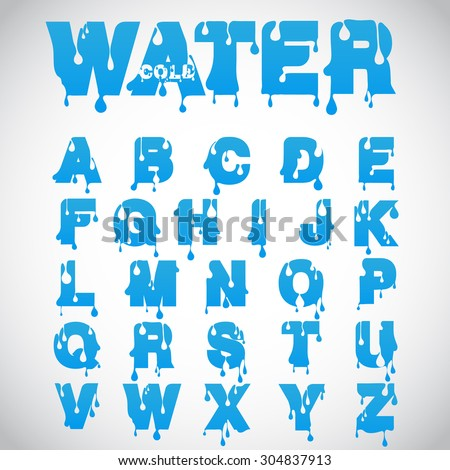 """Water"" font made from flow font, vector - stock vector"