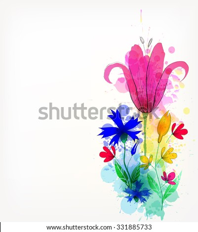 Watercolor vector background with colorful flowers and blots.Floral elements . - stock vector