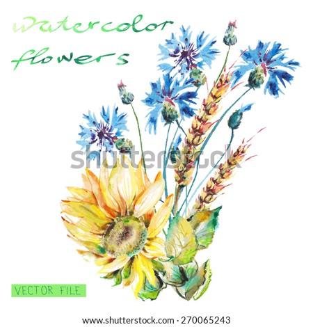 Watercolor Vector Flowers. Vector Watercolor Flowers. - stock vector