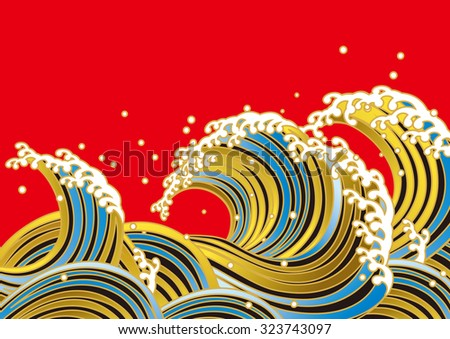 Wave. Japanese style - stock vector