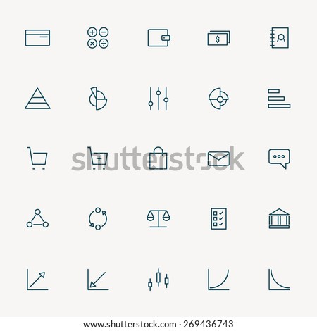 25 web and business minimal line icons - stock vector
