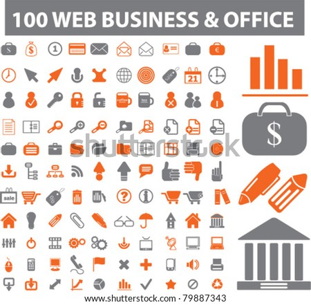 100 web & business & office icons, signs, vector illustrations - stock vector