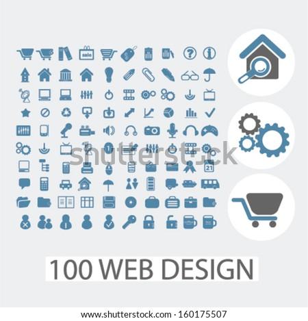 100 web design icons set, vector - stock vector
