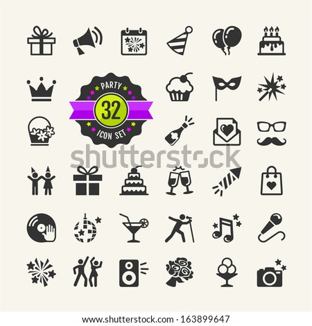 Web icon set Party, Birthday, celebration  - stock vector
