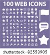 100 web icons, signs, vector illustrations - stock vector