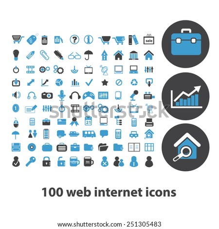 100 web internet, business isolated design flat icons, signs, illustrations vector set on background - stock vector