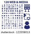 120 web & media icons set, vector - stock vector