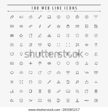 100 web minimal outline icons collection vector - stock vector