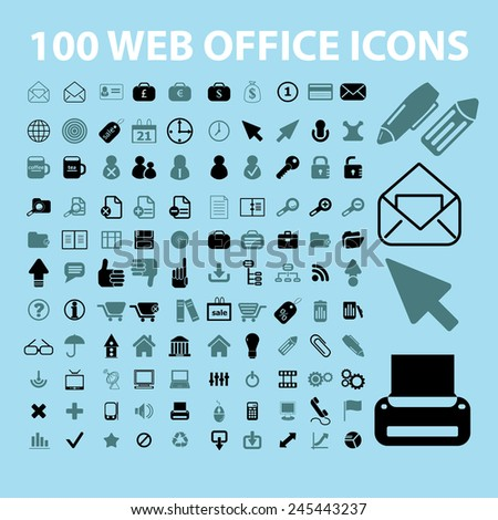 100 web, office, document, work, business, accessories black icons, signs, vector illustrations - stock vector
