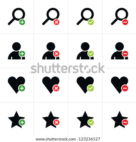 16 web pictogram set. Loupe, user, star, heart with plus, delete, check mark, minus sign. Simple black icon with colored element on white. Solid plain flat minimal style. Vector illustration in 8 eps - stock vector