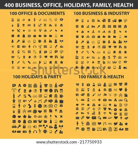 400 website, internet, business, office, holidays, family, health icons, signs, illustrations, vectors, symbols set - stock vector
