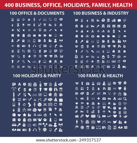 400 website, internet, business, office, holidays, family, medicine, health, holidays, industry icons, signs, illustrations set, vector - stock vector
