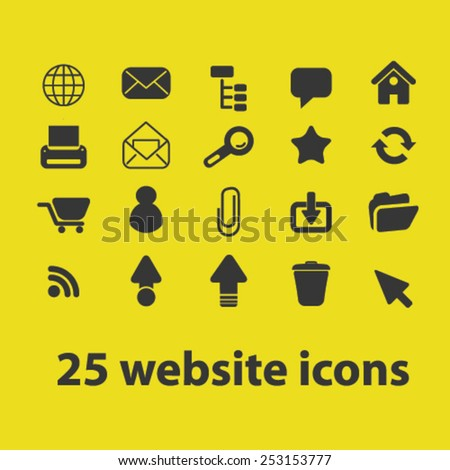 25 website, internet, page, interface concept - flat isolated icons, signs, illustrations set, vector - stock vector