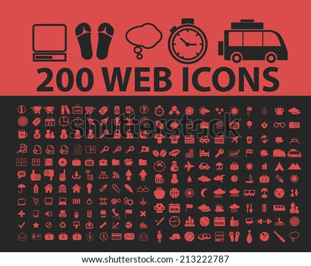 200 website, internet page, isolated icons, signs, symbols, illustrations, silhouettes, vectors set - stock vector