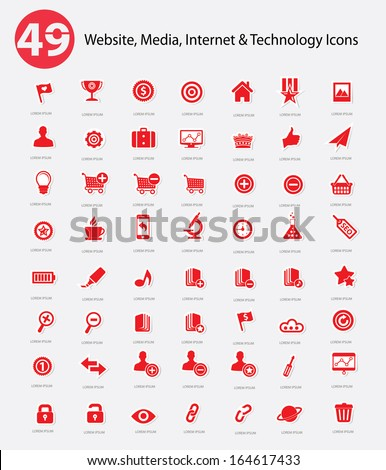49 Website, Media, Internet & Technology icons,Red version,vector - stock vector