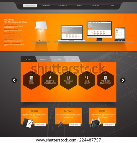 Website Template /Modern Clean Business style/ - stock vector