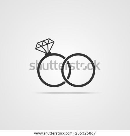 wedding rings icon isolated on white background - stock vector