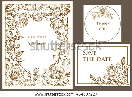 Wedding set. Menu, save the date, guest card.  flowers rose with buds and leaves, elegant, tender style. Hand drawn invitation - stock vector