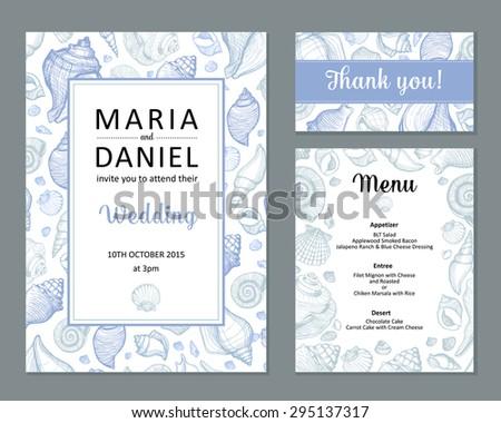 Wedding vector set with seashell. Invitation, guest card, menu - stock vector