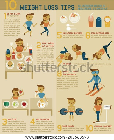 10 weight loss tips vector - stock vector
