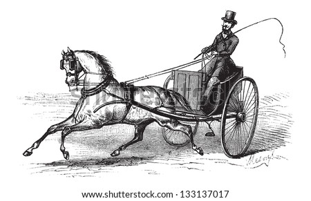 2-wheeled Cart drawn by a Single Horse, vintage engraved illustration. Le Magasin Pittoresque -  1874 - stock vector