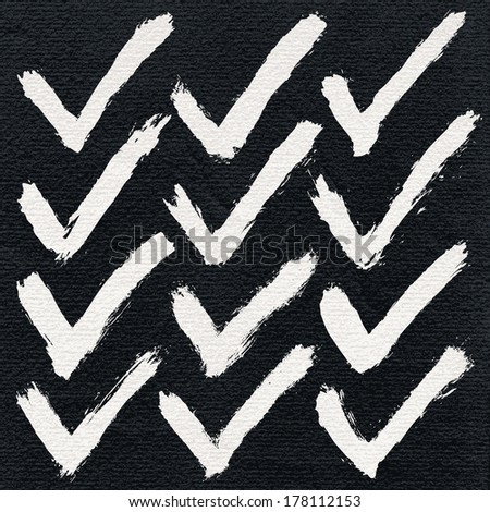12 white ink sketch check mark on watercolor paper. Isolated shape on black background. Aquarelle abstract textured in handmade technique. Vector illustration clip-art design element in 8 eps - stock vector