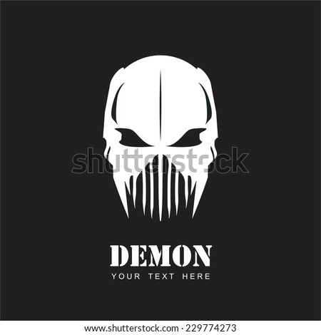 White Mask. Alien. Predator. Artwork. Suitable for team identity, insignia, emblem, illustration for apparel, mascot, motorcycle community, icon, etc. - stock vector