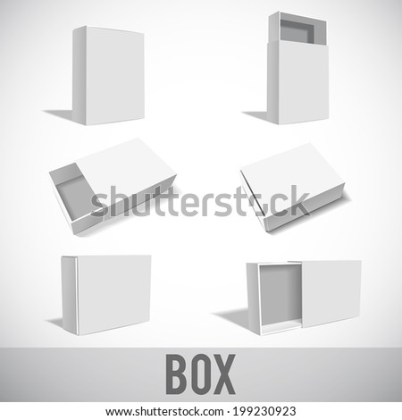 6 White Package Box.set - stock vector