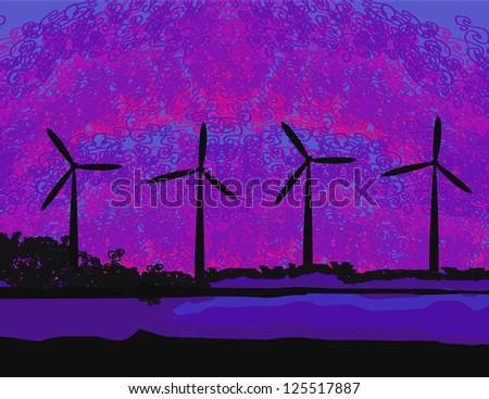 wind turbine sunset background ecosystem for design - stock vector
