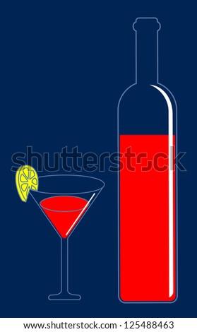 Wine glass pab bar vector illustration - stock vector