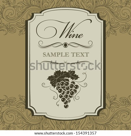 Wine menu. labels for wine with grapes. - stock vector
