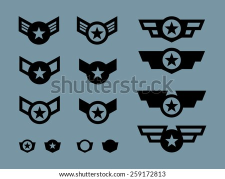 14 Winged Military Badges and Buttons - stock vector