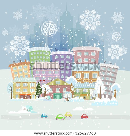 winter city life - stock vector