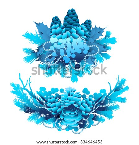 Winter frozen vignettes. Holly leaves and berries, coniferous branches and cones in blue colors. Vector design - stock vector