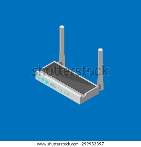 Wireless Router with the antenna. Isometric - stock vector