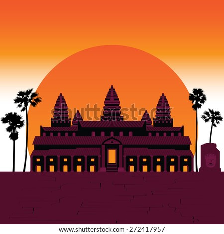 7 Wonder of the world Angkor Temple - stock vector