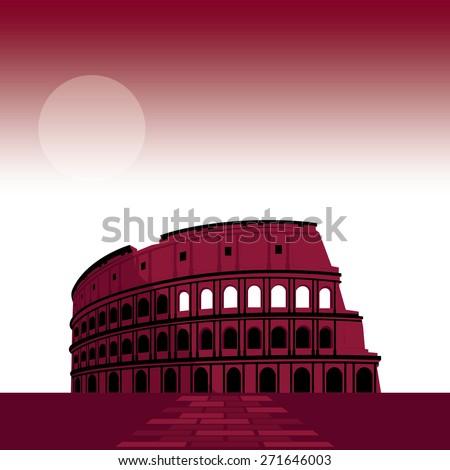 7 Wonder of the world Roman Colosseum - stock vector