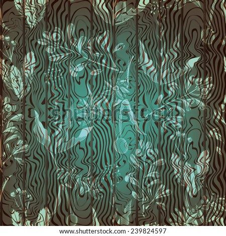 wood background with seamless flower pattern - stock vector