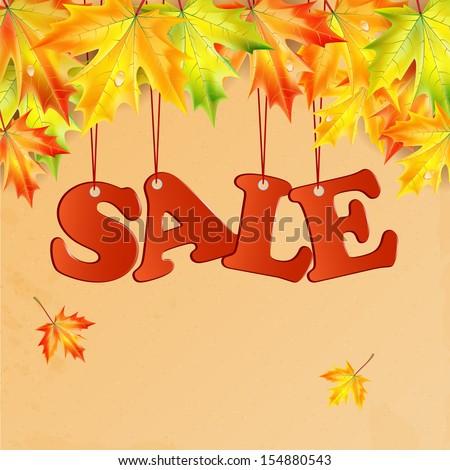 word sale and autumn maple leaves.seasonal autumn sale.vector - stock vector