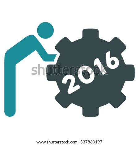 2016 Working Man vector icon. Style is bicolor flat symbol, soft blue colors, rounded angles, white background. - stock vector