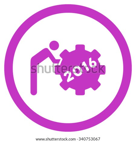 2016 Working Man vector icon. Style is flat circled symbol, violet color, rounded angles, white background. - stock vector