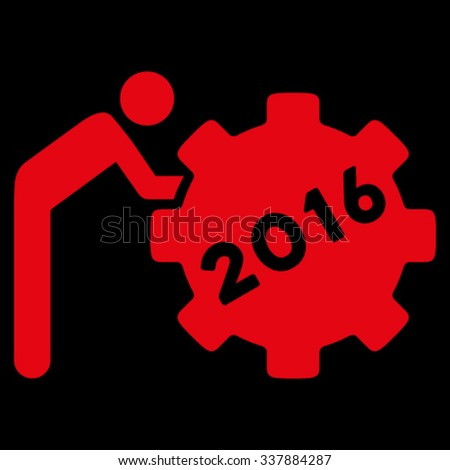 2016 Working Man vector icon. Style is flat symbol, red color, rounded angles, black background. - stock vector