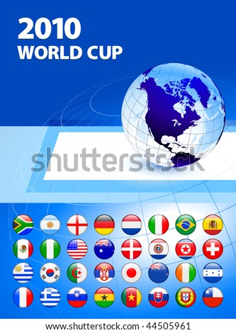 2010 World Cup Team Flag Internet Buttons with Globe Original Vector Illustration - stock vector
