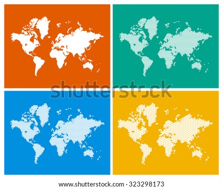 4 world maps in 4 different styles - sketch, circles, triangles and hexagons. - stock vector