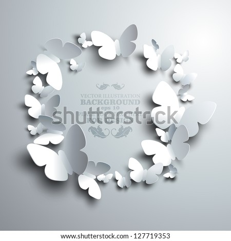 wreath made of white paper butterflies with free space for your text in the middle - stock vector