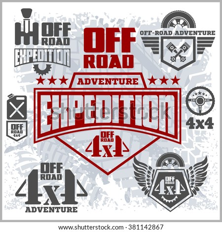 4x4 Off-road suv car emblems, badges and icons. Off-roading suv adventure and car club elements. - stock vector